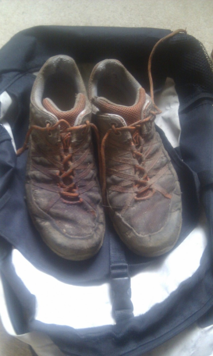 The mess my trail shoes were in from running in all the mud!