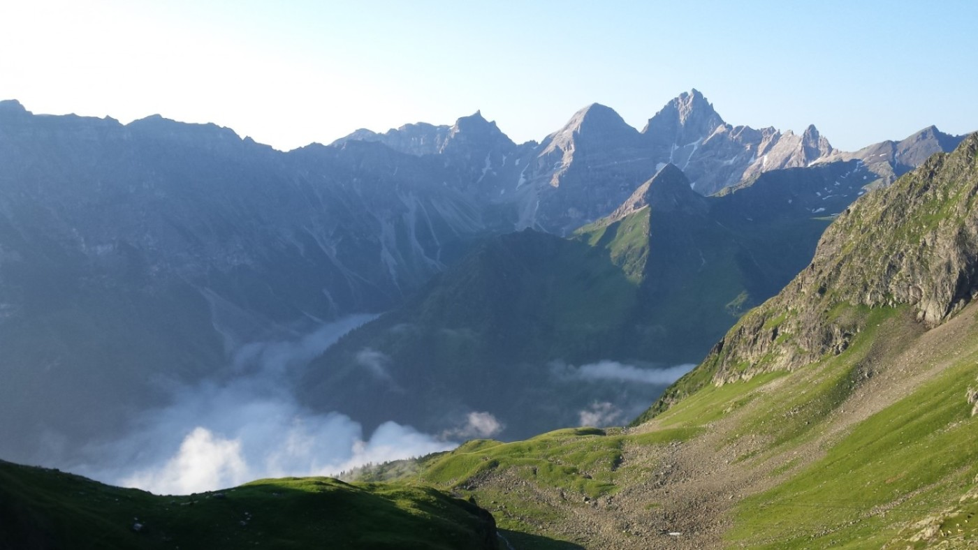 Morning views, looking south over the Gschnitz valley from the Innsbrucker Hut.